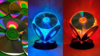 Светильник из компакт дисков - Ночник своими руками из дисков и гирлянды - Сделай САМ