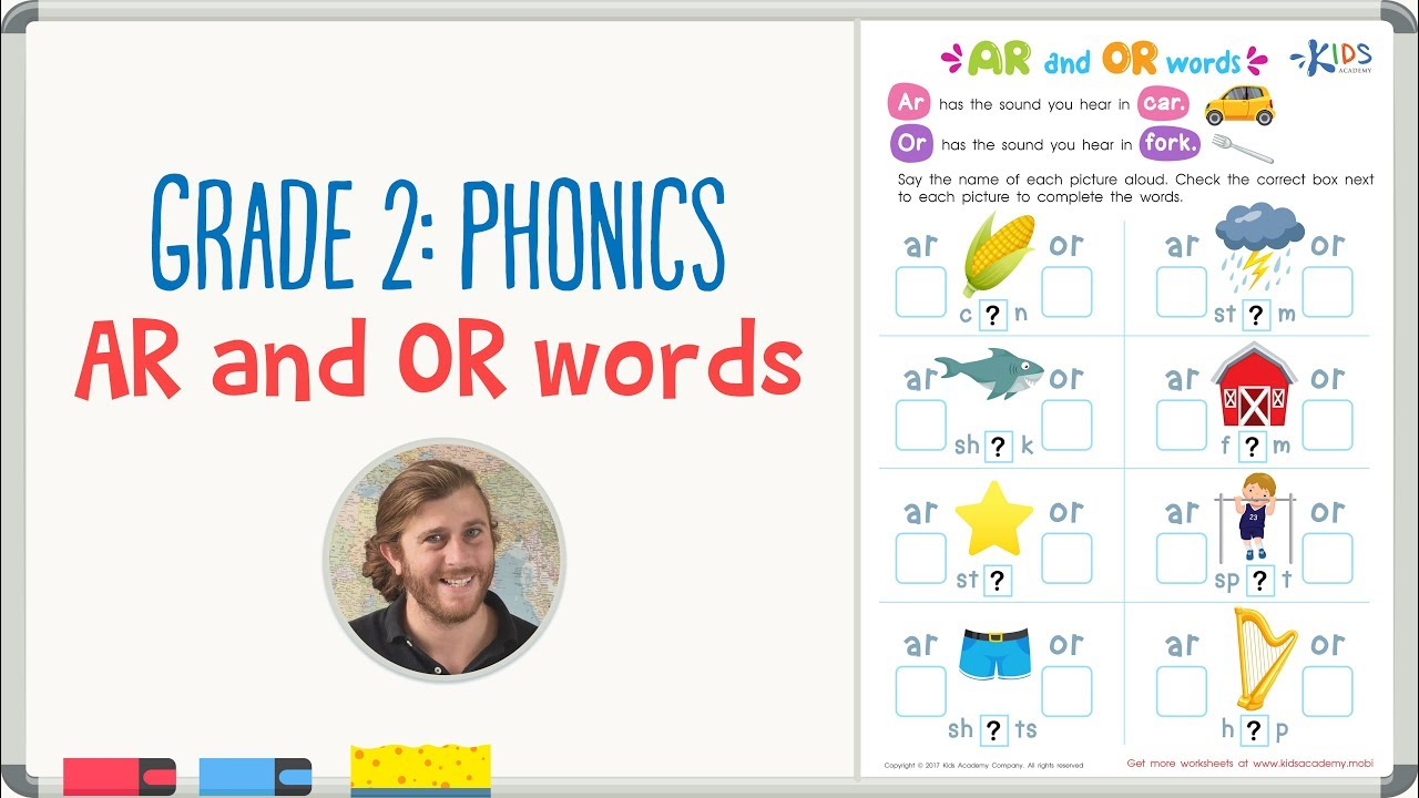medium resolution of Grade 2: Phonics - AR and OR words   Kids Academy - YouTube