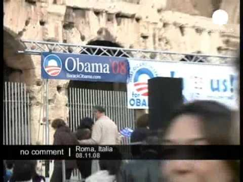 Obama supporters in Rome celebrate his victory