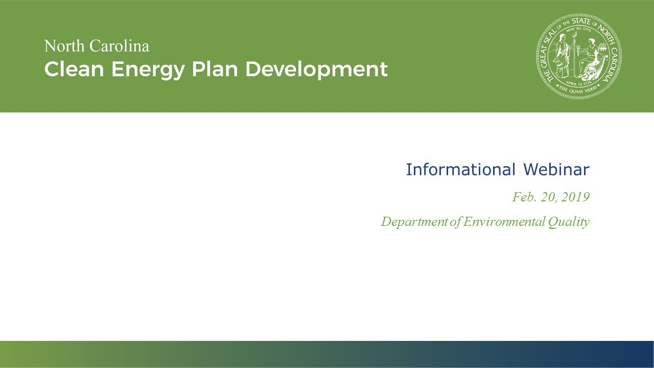 NC DEQ: Clean Energy Plan Development Process