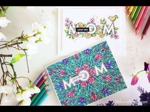 MOTHER\'S DAY Cards: Masking and coloring with PENCILS - YouTube