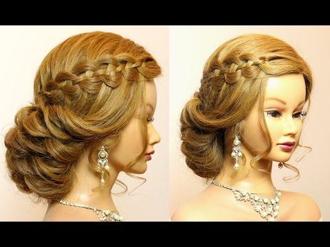 Wedding prom hairstyles for long hair tutorial. Bridal updo.