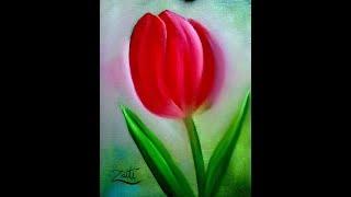 Tulipa pintura em tela
