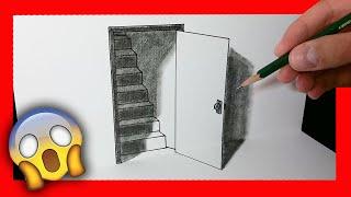Cómo dibujar una puerta 3D - ilusión óptica