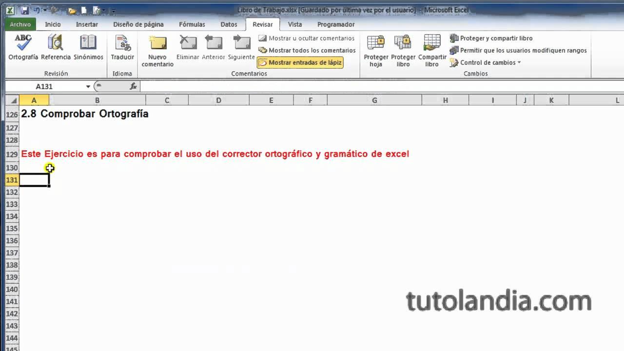 Excel 2010 Basico: 2.8 Comprobar Ortografía - YouTube