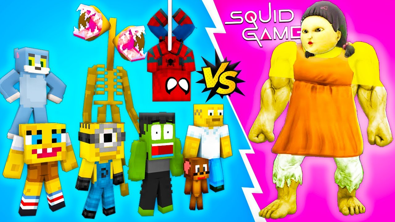 SQUID GAME with 10 DOLL SUPERHEROES - Red Light Green Light - Sad Story - Minecraft Animation Roblox