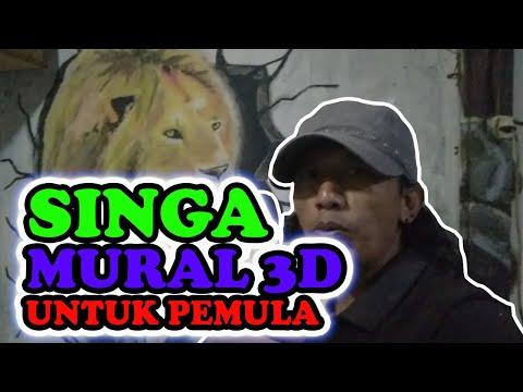 melukis 3d dengan cat tembok ||seni mural motif singa untuk pemula