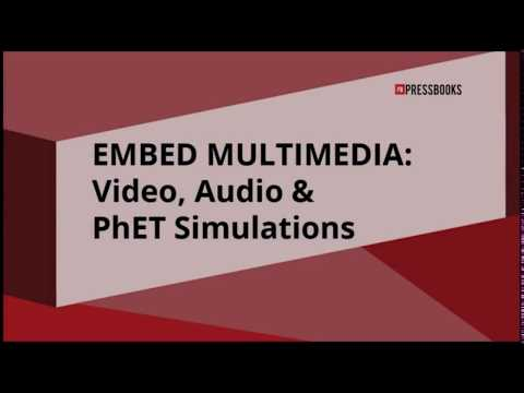 PressbooksEDU: Embed Video, Audio & Multimedia