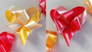 สอนพับเหรียญโปรยทานอย่างง่าย สำหรับมือใหม่ ลายหัวใจท้ายแหลม 2 แบบ .. Ribbon Art