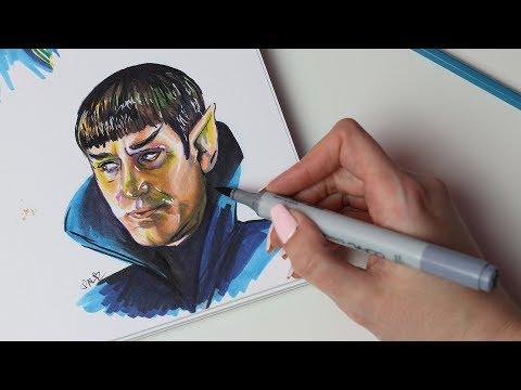 Marker Portrait of Sarek and Mini Sketchbook Flipthrough (ASMR soft spoken & sketching sounds)