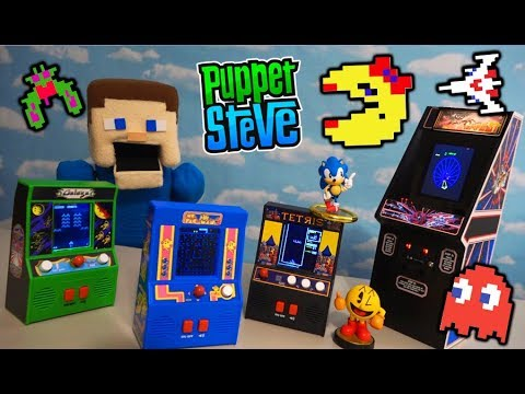 Tabletop ARCADE MS PAC MAN Video Game Mini Cabinets - Galaga Tempest Tetris Unboxing
