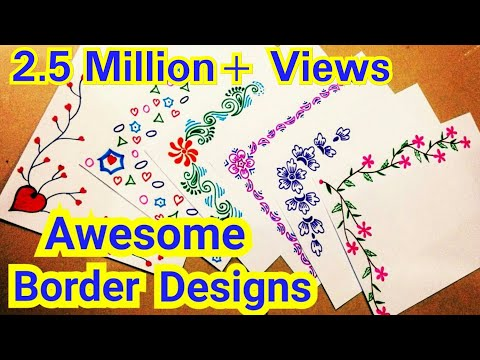 6 Border Designs | Border Designs On Paper | Project Designs | Project File Decoration Ideas