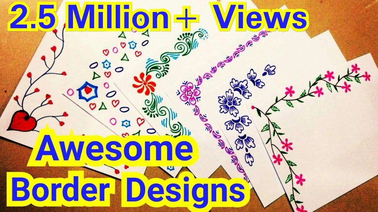 6 Border Designs  Border Designs On Paper  Project Designs  Project File Decoration Ideas