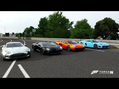 Forza 7 Drag race: Lamborghini Aventador LP700-4 vs Noble M600 vs McLaren 12C vs Aston Martin One-77
