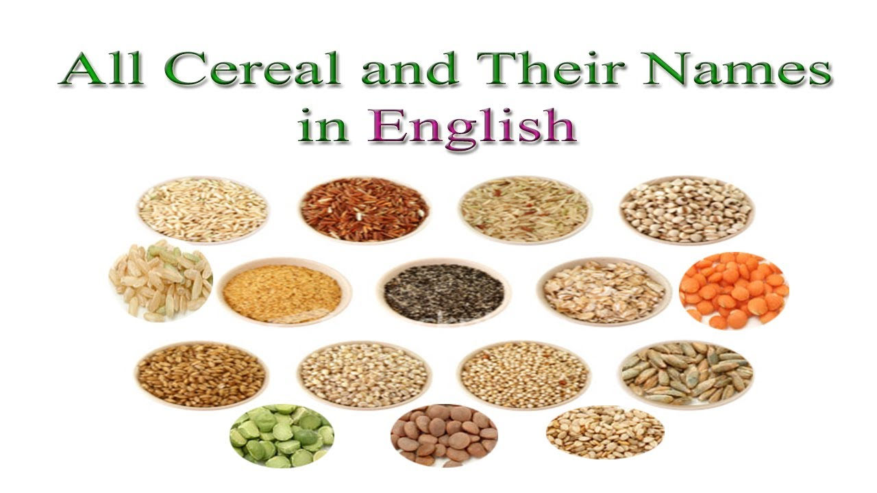 all cereal and their names in english youtube