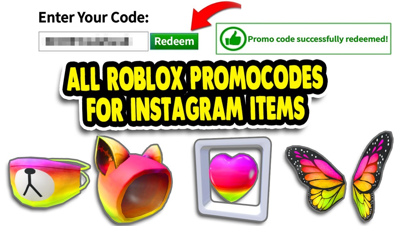 ALL ROBLOX INSTAGRAM ITEMS PROMOCODES*WORKING* 2020 FEBRUARY YouTube