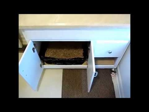 Type 1 Diy Cat Kitten Litter Box Hideaway Enclosure Using Kitchen Bathroom Vanity Cabinet
