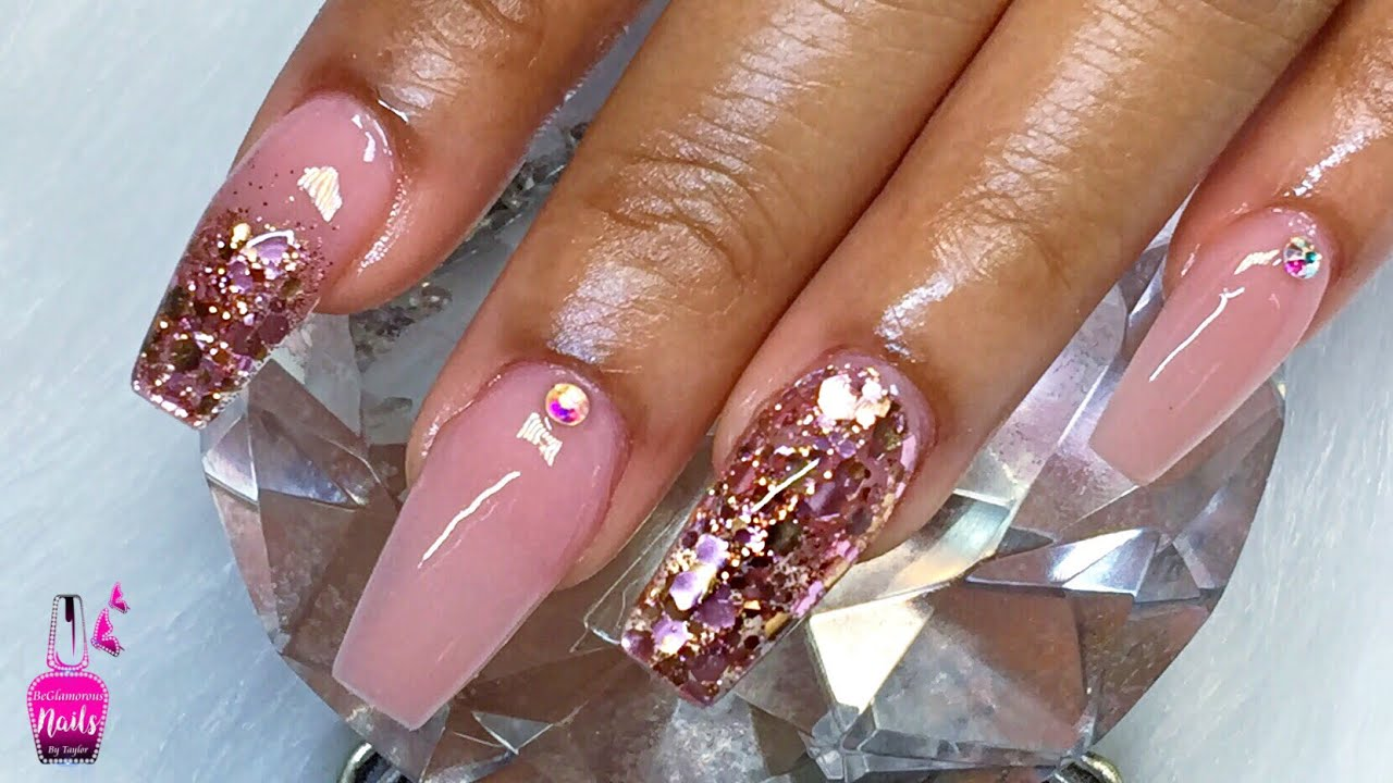 Watch Me Work Coffin Nude Acrylic Nails With Rose Gold