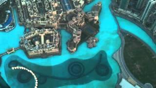 The Dubai Fountain from 124 floors up Burj Khalifa at dusk on 12/06/11