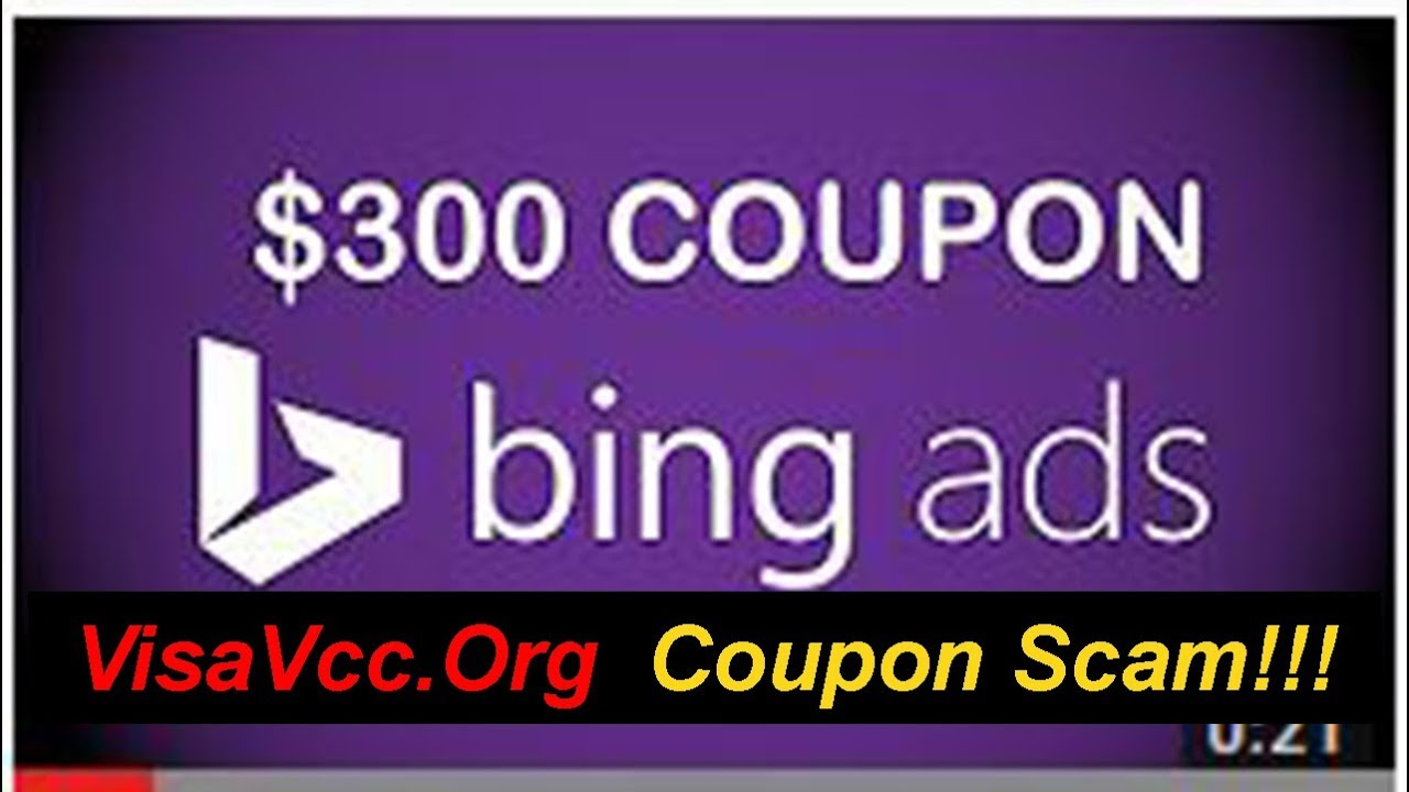 $300 Bing Ads, $300 Google Adword and $250 Facebook Ads COUPON for $25  (((SCAM by VisaVcc Org)))