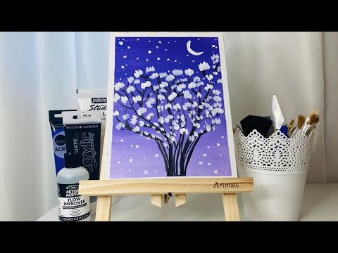 Relaxing Painting Video / Acrylic Landscape on Canvas / Satisfying Video / ASMR