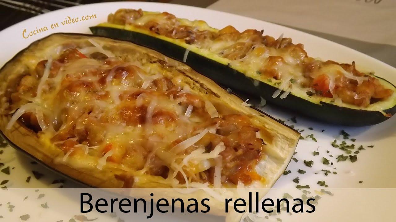 Berenjena rellena con at n grilled eggplant courgette doovi - Berenjena rellena al horno ...