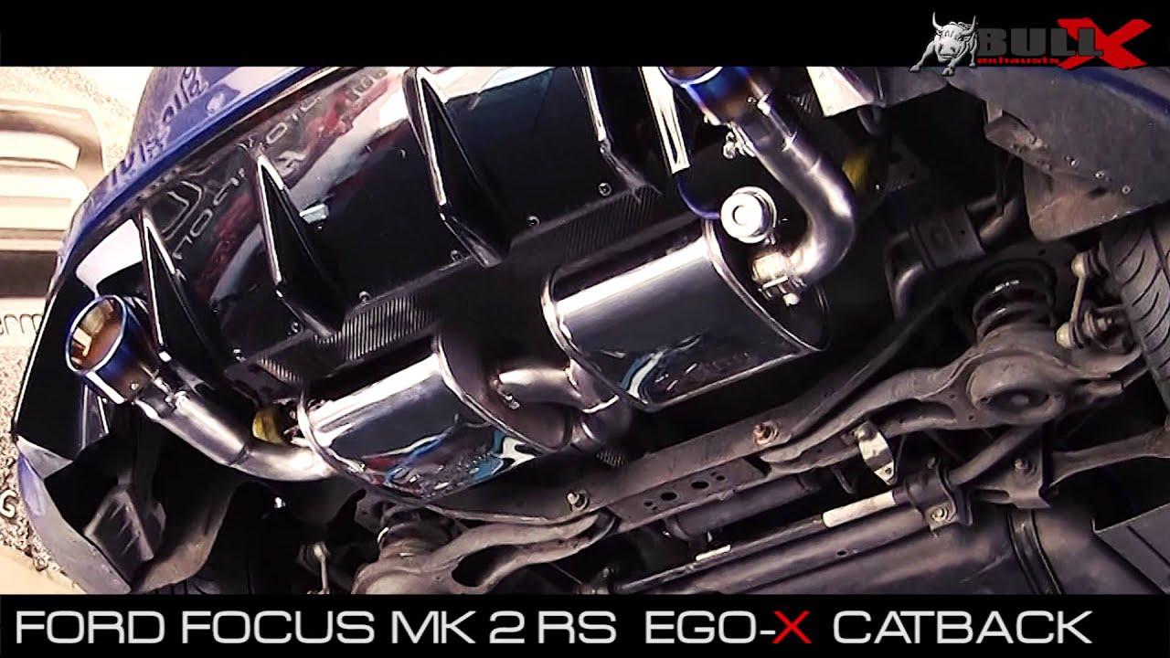 Ford Focus Mk2 Rs Ego X 3 76mm Exhaust Sound Klappenabgasanlage Bull X Ego X Sportauspuff Youtube