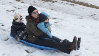 Toboggan - Tobogganing in the SNOW HILLS with the KIDS
