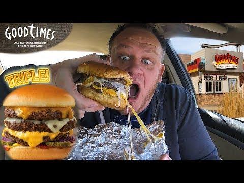 Good Times Burgers ☆TRIPLE CHEESEBURGER & WILD FRIES☆ Food Review!!!