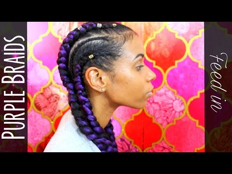 Purple Cornrow Feed in Braids