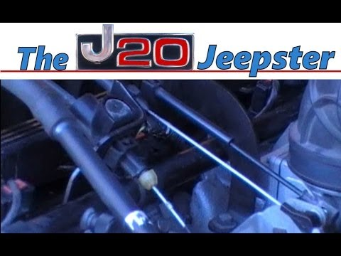 Jeepster adjusting Kick down cable on a 96 Jeep XJ 40 - YouTube