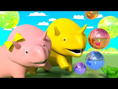Обучающий мультфильм -  Учим фигуры - Дино и Дина играют с мыльными пузырями - Учимся вместе с Дино