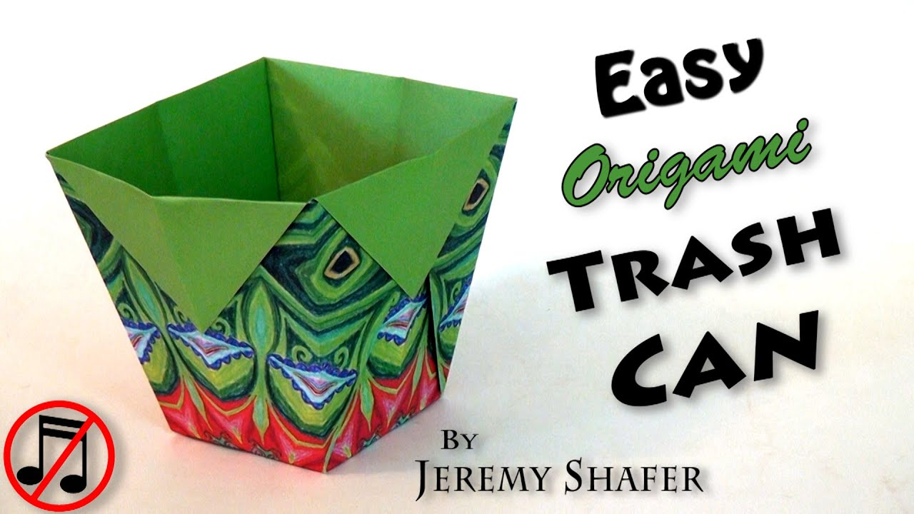 easy origami trash can no music youtube