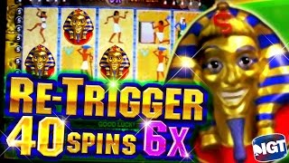 40 Free Spins on Pharaoh's Fortune + Retrigger  BIG WIN - 5c Video Slots