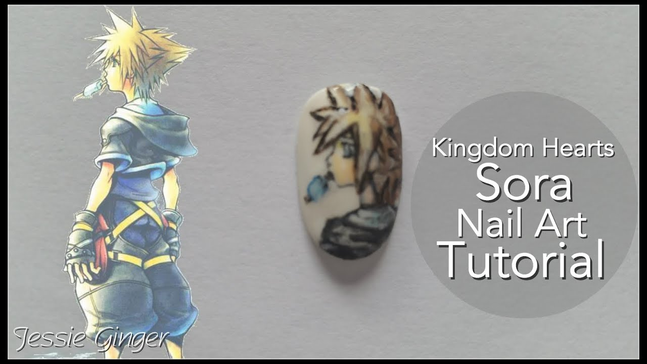 Sora (Kingdom Hearts) Nail Art Tutorial - YouTube