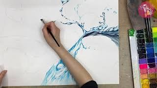 기초디자인 시범 - 물 표현하기 [홍대미술학원 디자인쏘울]