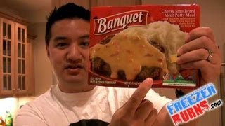 Banquet Cheesy Smothered Meat Patty Meal Video Review: Freezerburns (Ep66)