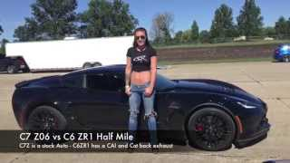 C7 Z06 vs C6 ZR1 Half Mile Race - Omega Motorsport No Fly Zone Midwest
