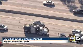 FULL / INSANE: LA Police Chase Dust storm - Hotel trasher - STOPS FOR GAS