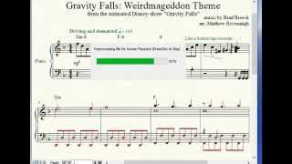Gravity Falls Weirdmageddon Theme Piano Sheet Music