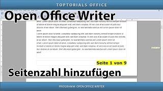 Seitenzahl hinzufügen ganz einfach (Open Office Writer)