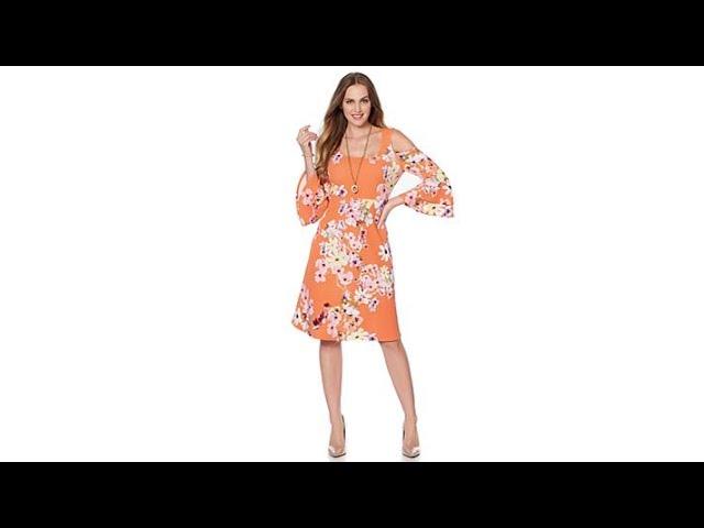 Slinky Brand Printed Textured Double Flounce Sleeve Dress
