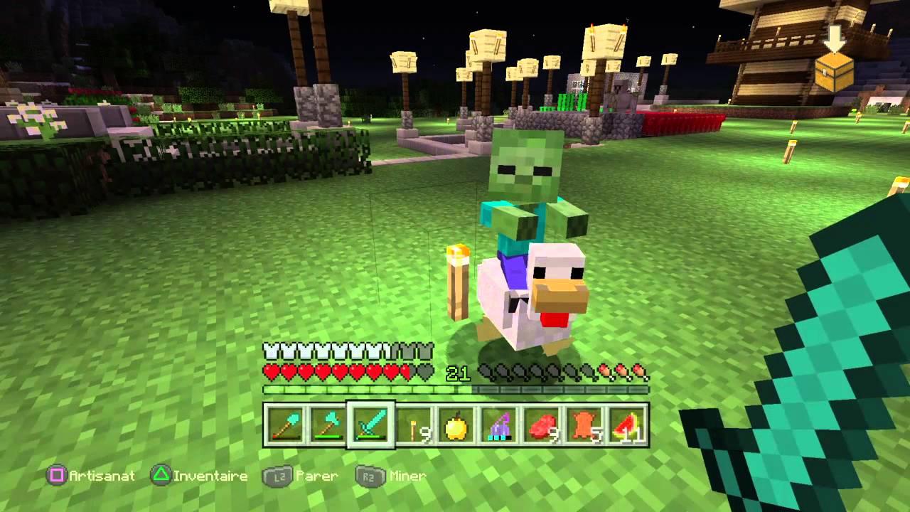 Minecraft sur ps4 un mini zombie qui chevauche une poule - Poule minecraft ...