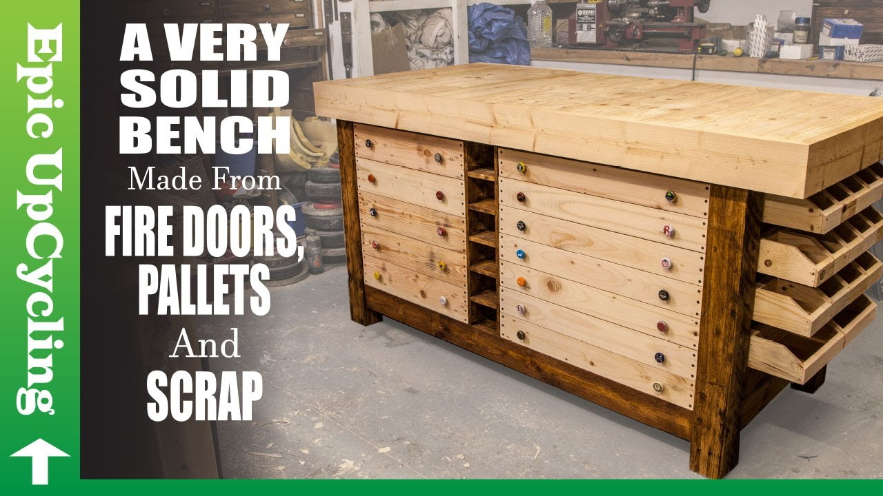 A Very Solid Workbench made from Fire Doors, Pallets, and Scrap.