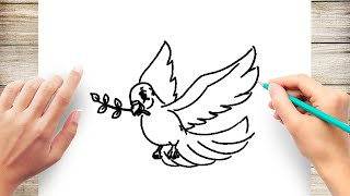 How to Draw a Dove with Olive Branch Step by Step