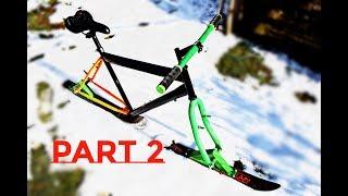 HOMEMADE SKIBike Part 2 / DIY Snow Bike no.2 + TEST