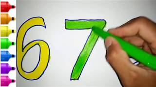 Coloring for Kids with number | How to draw numbers1-10