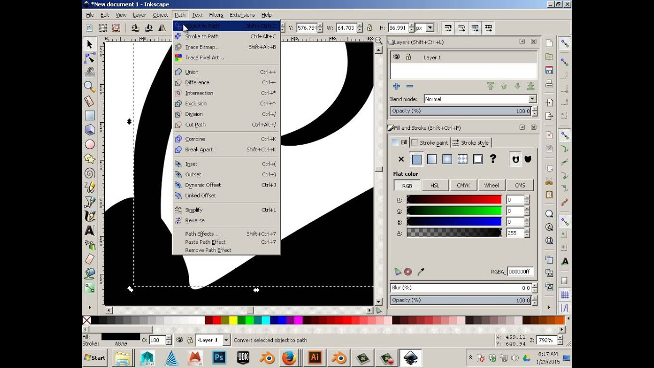 Step 1 alternative Vector to 3D to STL Using inkscape 1 of 3
