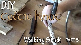 How to Make Wood Celtic Walking Stick - Part 5 Dremel Carving Diamonds