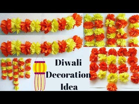 Diwali Decoration Ideas At Home | Decoration For Diwali Ideas | Crepe Paper Decoration